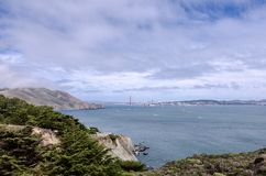 Weitwinkelansicht Golden gate bridges in San Francisco, wie von Marin Headlands gesehen lizenzfreies stockfoto