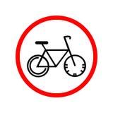 Weitwinkelansicht und blaue T?nung Fahrrad im roten Kreis stock abbildung