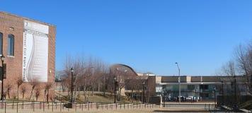Weitwinkelansicht von Gründern parken und Lorraine Motel, Memphis Tennessee Lizenzfreies Stockfoto