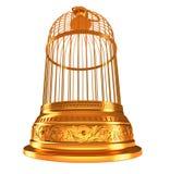 Weitwinkelansicht von unten des goldenen Birdcage Lizenzfreie Stockbilder