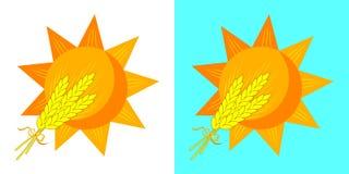 Weizenähren und Sun Ohren des Weizenvektorlogos stock abbildung