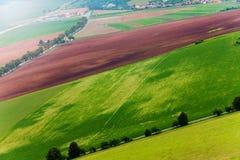 Weizen und andere Felder von oben Lizenzfreie Stockfotos
