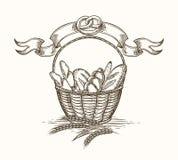 Weizenbäckerei-Korbskizze stock abbildung