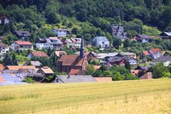 Weizenfelder in den Bergen von Deutschland, Bodingheim Stockfoto