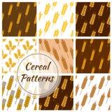 WeizenGetreidekorn, nahtlose Muster der Roggenohren eingestellt lizenzfreie abbildung