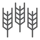 Weizenlinie Ikone, Korn und Gluten, Brotzeichen, Vektorgrafik, ein lineares Muster auf einem weißen Hintergrund lizenzfreie abbildung