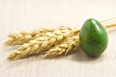 Weizenohren und grünes Ei Lizenzfreies Stockbild