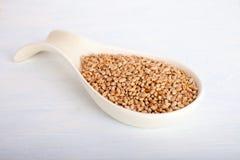 Weizensamen im großen Porzellanlöffel auf weißem Hintergrund, Perspektivenansicht stockfoto