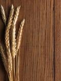 Weizenspitzen auf hölzernem Vorstand Stockfotografie