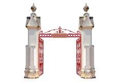 Wejście świątynia z otwartą żelazo bramą, odosobniony dalej zdjęcie stock