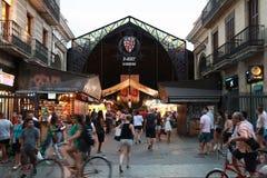 Wejście los angeles Boqueria, rynek w starej części Barcelona Fotografia Stock