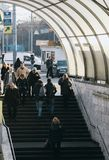 Wejście metro, ludzie Kyiv miasto, Kijów, Ukraina, pejzaż miejski Obraz Stock
