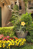 Wejście Mieścić z Żółtymi kwiatami Zdjęcia Royalty Free