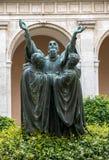 Wejście przyklasztorny Monte Cassino opactwo i śmierć świętego Benedykt statua Włochy fotografia stock