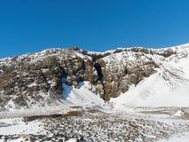 Wejście Raudfeldsgja jar, Snaefellsness półwysep, zachodni Iceland w zimie zdjęcie stock