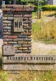 Wejście znak park narodowy Sallandse Heuvelrug zdjęcia royalty free