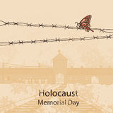 Wejściowa brama Auschwitz Birkenau również zwrócić corel ilustracji wektora ilustracja wektor