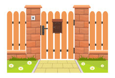 Wejściowy drzwi z skrzynką pocztowa ilustracji