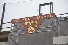 Wejściowy logo nowy budujący tunelowy Velsertunnel w Velsen holandie Obrazy Stock