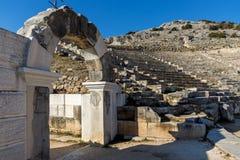 Wejście Antyczny amfiteatr w archeological terenie Philippi, Grecja Zdjęcie Royalty Free