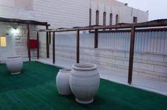 Wejście mikveh i synagoga Zielona sztuczna trawa i trzy wielkiego dekoracyjnego waterlilies Obraz Stock