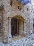 Wejście starzy budynki. Jaffa, Tel Aviv, Izrael. Obraz Stock
