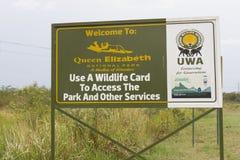 Wejście znak królowej Elizabeth park narodowy, Uganda Obraz Royalty Free