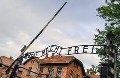 Wejściowa brama Auschwitz koncentracyjny obóz w Polska, Europa Zdjęcia Royalty Free