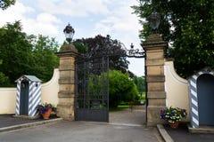 Wejściowa brama Lany kasztel, lata Czeski prezydent siedziba Zdjęcie Royalty Free