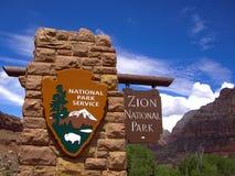wejściowy park narodowy znaka zion Fotografia Stock