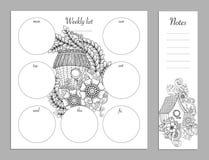 Wekelijks lijstontwerp voor blocnote Sketchbook, agendamodel Kleurende pagina Stock Foto