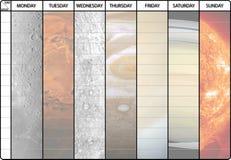 Wekelijks programma met planetenachtergrond Stock Afbeeldingen