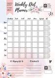 Wekelijkse dieetontwerper Vector voor het drukken geschikte pagina voor vrouwelijke notitieboekje, dagboeken of brochure dagelijk Royalty-vrije Stock Foto's