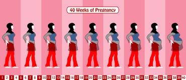40 weken van zwangerschap met een moslim zwangere vrouw draagt religio Stock Fotografie