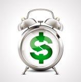 Wekker - bedrijfssymbool - dollarteken Stock Afbeeldingen
