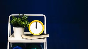 Wekker en bloempot op blauwe achtergrond met exemplaarruimte Prikklok op plank met groene installaties bij 12 o' klok royalty-vrije stock fotografie