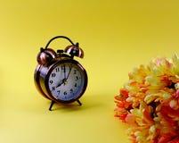 Wekker en madeliefjebloem op gele achtergrond royalty-vrije stock foto