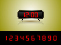 Wekker met de Vector van Cijfers Stock Foto