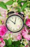 Wekker 10 uren Bloemen Stock Foto