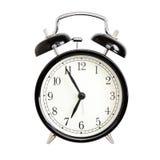 Wekkers - zwarte geïsoleerde klokwekker royalty-vrije stock afbeeldingen