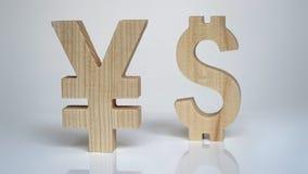 Wekslowa ocena Waluta znaka jen, dolar Obrazy Royalty Free