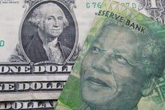 Wekslowego tempa dolar amerykański i południe - afrykański skraj Obrazy Stock