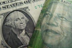 Wekslowego tempa dolar amerykański i południe - afrykański skraj Obraz Royalty Free