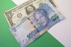 Wekslowego tempa dolar amerykański i południe - afrykański skraj Zdjęcia Royalty Free