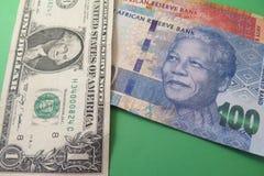 Wekslowego tempa dolar amerykański i południe - afrykański skraj Zdjęcie Stock
