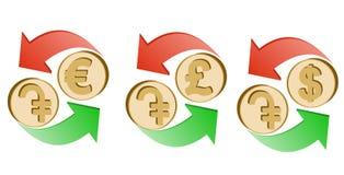 Wekslowy dram euro, funtowy szterling i dolar, ilustracji