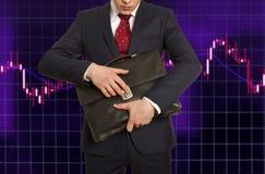 Wekslowy makler Biznesmen z teczką Zdjęcia Royalty Free