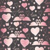 Wektorów deseniowi łabędź w miłości dla walentynka dnia, poślubiać, romantycznych wydarzeń i miłości, ilustracja wektor