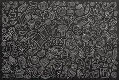 Wektorów doodles kreskówka ustawiająca diety jedzenie protestuje i elementy Zdjęcia Stock