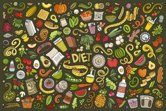 Wektorów doodles kreskówka ustawiająca diety jedzenie protestuje i elementy Zdjęcie Royalty Free